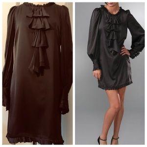 "Milly ""Nina"" Sheath Dress Puff Sleeve Ruffle Silk"